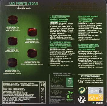 Saveurs & Nature Pralinen Vegan Aux Fruits 200g hinten